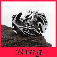 Wholesale Mens Biker Rings For Men Geometric Siver Ring Couple Fashion Engagemen Unisex Relief Real Titanium Set Silver Plated Dragon Gemstone Rings