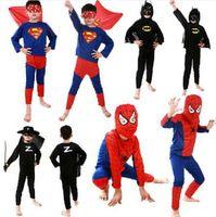 Wholesale BBA4052 color Spiderman Superman Batman Zorro Halloween Costume Suits Kits Kids BABY long sleeve superhero costume cosplay set
