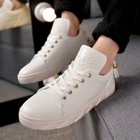 big board sports - Hots Seller Big brand Skull PU men s High top board shoes sports shoes tide male Korean youth young white leather shoes hip hop shoes