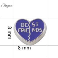 alloy heart locket - Alloy Purple Best Friends Heart Floating Charm Pendant DIY Floating Charm for Living Memory Glass Locket
