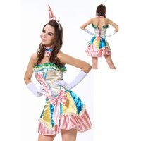 adult fever - Fever Boutique Colorful Bustle Skirt Collar and Mini Hat Gloves Clown Lovely Adult Sexy Costume Halloween Clown Costume L1320
