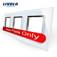 Wholesale Livolo Luxury White Pearl Crystal Glass mm mm EU standard Triple Glass Panel For Wall Switch Socket DIY VL C7 SR SR SR