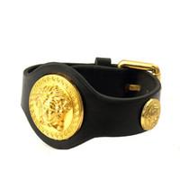 leather cuff bracelet - Fashion Design Cuff Bracelets Metal K Gold Plated Black Leather Bangles Brand Jewelry Men Women Hip Hop Rock Cuff Bracelets Bangles