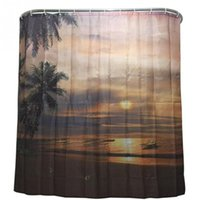 Wholesale 2016 New Fashion Sunset Coconut Shower Curtain Stylish Family Bathroom Shower Curtain Ring Pull Easy To Install