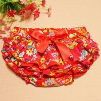 Wholesale newborn baby ruffle PP pants red flower lovely stretchy shorts with headband as set summer clothes