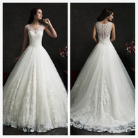 Cheap 2016 Amelia Sposa Lace Wedding Dresses Crew Neck Tulle Applique Court Train Custom Made Cheap A Line Bridal Gowns With Buttons Back
