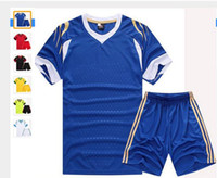 adults wearing kids clothes - Adult kid paintless blank football jerseys soccer full set costumes suits training sports wears clothes costumes for male female