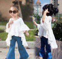 Wholesale new mother and daughter clothes girls cotton white horn sleeve falbala Irregular dress Family dress womens cotton dress tops