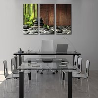 bamboo backgrounds - 3 Picture Combination Wall Art Bamboo Grove And Black Zen Stones On The Old Wooden Background On Canvas Botanical At Home Decor