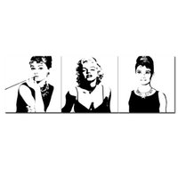 audrey gift - 3 Pieces Canvas Painting Marilyn Monroe and Audrey Hepburn Painting with Wooden Framed for Modern Home Wall Decoration as Gifts