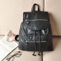 Wholesale Fashion Tide Washed Black Leather Retro Soft Leather Backpack Bag Casual Bag For Women Men Unisex