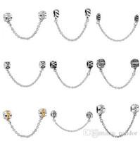 Collier diy Prix-Plaqué 50pcs Mix Silver Style Style Bracelet Sécurité de la Chaîne Mode Perles européenne Charm Fit Pandora collier pendentif bijoux d'origine DIY