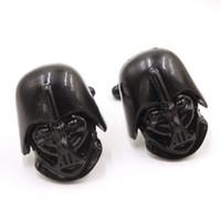 Wholesale Star Wars D Darth Vader Head Cufflinks men Cufflink For Shirt wedding Cufflinks Fathers Day Gifts For Mens Jewelry Cuff Links