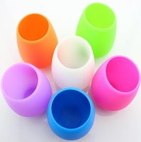 Wholesale Silicone Wine Glasses Unbreakable Premium Food Grade Stemless Drinking Cups Dishwasher safe Recyclable Rubber Wine Glasses colors HHA928