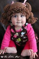 Unisex baby cabbage patch - new Girl Wig Hat handmade Crochet Baby Girls Wigs Cabbage Patch Hat Newborn Beanie caps Photographic prop Dark brown
