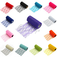 applique table runner - 2PCS Tulle Roll Spool Lace Roll quot x10YD Netting Fabric Tutu Skirt Chair Sash Bow Table Runner Lace Fabric Wedding Decorations Top quality