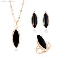 Wholesale New Design Black Oval Pendant Decoration Earring Ring Jewelry Set Golden Plated Accessory For Girl