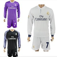 Wholesale 16 Real Madrid Soccer Jerseys Long Sleeve Shirts Sets Ronaldo Bale Benzema Home Away Goalkeeper Football Kits Soccer Uniforms Jersey