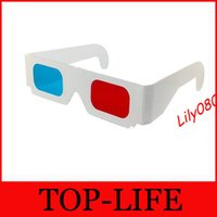 Wholesale Anaglyph Paper Red Cyan D Glasses Red blue glass