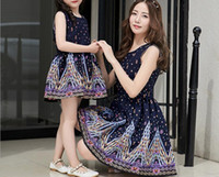 Wholesale 2016 Fashion New Summer Mother Daughter Matching Dresses Mom And Daughter Dress Family Clothing