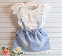 korean children clothing - Korean Style Girl Summer Lace Hollowed T shirt Denim Suspender Skirt Children Clothing Outfit Set sets KB478