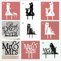 Wholesale Mr Mrs LOVE You Me Acrylic Wedding Cake Toppers Accessories Bride And Groom Family with Pet dog Cat Wedding Party Cake Stand Decorations