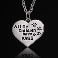animals association - Footprint All My Children Have Paws Heart Pendant Necklaces Women Men Charm Jewelry Animal Lovers Association Friend Family Party Gift