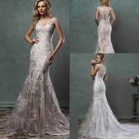 Cheap Mermaid Amelia Sposa Bridal Gown With Scoop Sheer Back Covered Button Ivory Nude Court Train Custom Made 2016 Lace Wedding Dresses