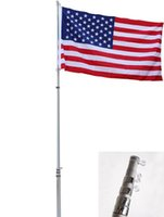 Wholesale 16 FT Flag Pole Kit Telescopic Aluminum Flagpole US Flag Ball Fly Flags F
