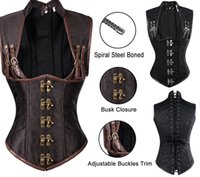 Wholesale 2016 Sexy Women Autumn Punk Corsets Bustiers Shaper Slim Body Leather Steel Boned Corset Plus Size Gothic Style V neck Fashion Good Quality