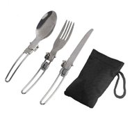 Wholesale Outdoor Camping Picnic Tableware Stainless Steel Folding Fork and Spoon Tab utensilios de cocina