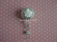 badge reels for nurses - Rhinestone D White Flower reel retractable ID badge holder for Nurse ER
