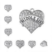 Cheap Big Hearts Big Sis Middle Sis Little Sis Baby Sis Mom Nana Sister Crystal Rhinestones Heart Pendant Charms Wholesale 3pcs DIY jewelry