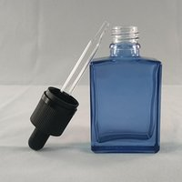 aqua glass bottles - Newest E liquid ml Glass Rectangular Square Bottle Dropper Transparent Aqua Blue Child Proof Caps Factory