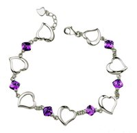 amethyst crystal bracelet - Price Women Bracelet Silver Purple Crystal Heart Shape Charm Bracelet for Women Cuff Bracelets Bangle Women Girl Jewelry Gift