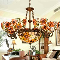 art sunflowers - Tiffany art chandeliers Minimalist stained glass pendant lamps sunflower restaurant lights hand made lampshade living room lighting hot sale