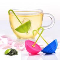 Wholesale New Design Small Tiny Umbrella Infuser Multiple Colors Silicone Loose Tea Strainer Herbal Spice Tea Filter Teapot Mug Coffee Tea Tool