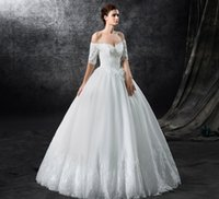 beautifull garden - Strapless short sleeve floor length nine tires Applique Lace Dresses Plus Size cheap beautifull A Line Wedding Dresses