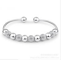 Wholesale cuff beads bangle Bracelet Handmade Fashion Jewelry Silver plated Bracelet For ladies drop ship SYLZBJW050