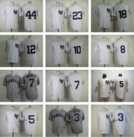 baseball strips - Men s Ruth Mantle New York Yankees Throwback Baseball jerseys White Strips Grey Top Quality jerseys Cheap