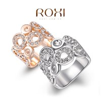 Wholesale ROXI Christmas Gift Classic Luxury Rings Top Quality Genuine SWR crystal romantic hand made fashion jewelry