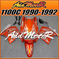 Wholesale Fairings Addmotor Best Choice Compression Mold ABS For Kawasaki ZX11 ZZR1100C Silver Flames Orange K1111 Free Gifts