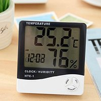 alarm temperature sensors - Mini Good Indoor Digital LCD Alarm Clock Thermometer Temperature Sensor Humidity Meter Hygrometer Gauge