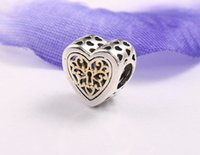 Wholesale New Fit Pandora Bracelets ALE Sterling Silver openwork heart in k charm beads w cz for women DIY jewelry Bracelets Necklaces make