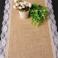Wholesale New cm cm Vintage Burlap Lace Hessian Table Runner Natural Jute Country Party Wedding Chirstmas Adornment Decoration DCBH37