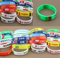 best country flags - Different country national flag band logo silicone bracelets Fashion USA UK wristband bracelet charm waistband for National day party best