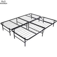 Wholesale Homdox King Size Metal Folding Platform Bed Frame Base Mattress Foundation Black