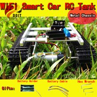 Wholesale Official DOIT T100 Aluminum Alloy Metal Toy Tank Track Caterpillar car Chassis Tracked Crawler appron wheel Trackmounted DIY RC