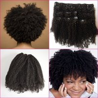Wholesale African American Clip In Hair Extensions a b c Afro Kinky Curly Malaysian Human Hair Clip on extensions