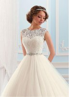Wholesale 2016 New Elegant Lace Ball Gown Wedding Dresses Sheer Neck Backless Sleeves Lace Appliques Beaded Sash Bridal Gowns